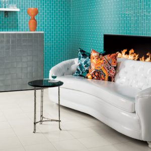 This bold tile accent wall becomes a focal point