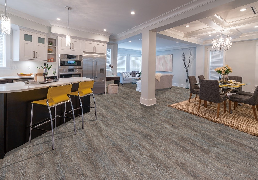 Using Ultimate Gray and Illuminating Yellow are some of the hottest 2021 flooring trends