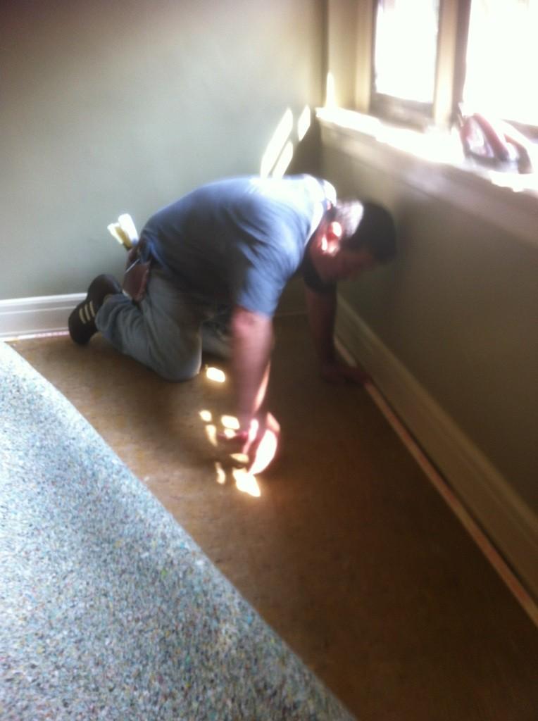 Installing Carpet at Christamore House