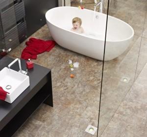 Versatile vinyl is an ideal flooring for bathrooms