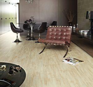 Vinyl flooring mimics wood grain